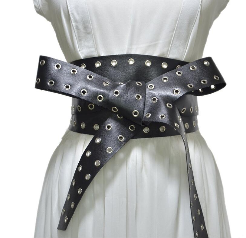 Women's Runway Fashion Hollow Out PU Leather Punk Cummerbunds Female Dress Corsets Waistband Belts Decoration Wide Belt R2230