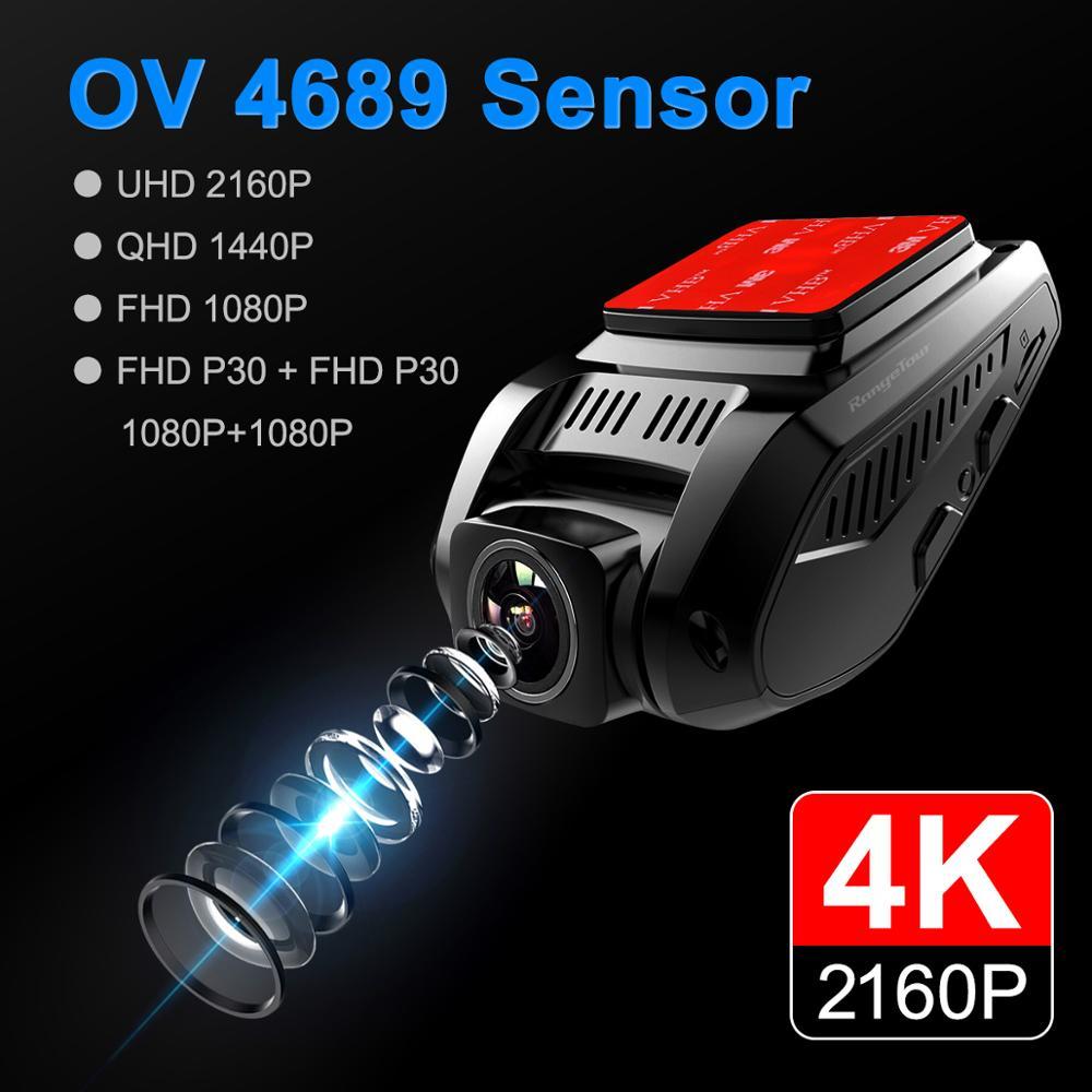 Carro dvr 4 k 2160 p gps wifi adas traço cam lente dupla 1080 p + 1080 p veículo câmera do carro gravador de condução - 2