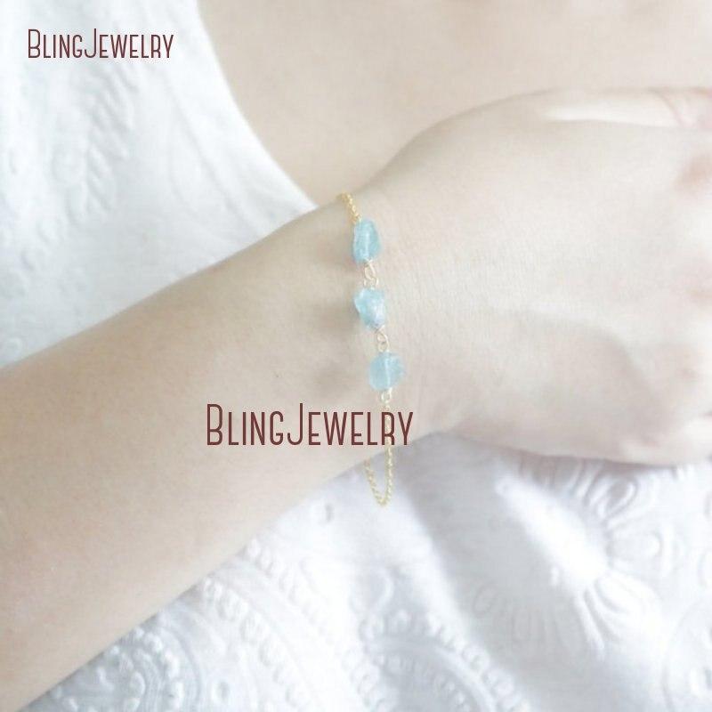 bridesmaid gift Blue apatite bracelet Gemstone bracelet raw crystal bracelet thin gold bracelet raw quartz bracelet blue quartz