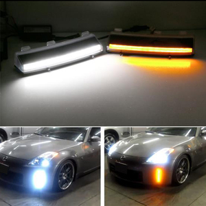 Image 5 - iJDM Front Bumper Switchback White&Amber LED Running Lights Turn Signal For 2006 2009 Nissan 350z LCI,Exact Fit Bumper Reflector