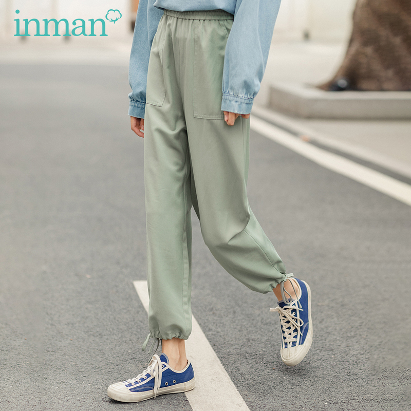 INMAN 2020 Spring New Arrival  Concise Style All match Pure Color Literary Leisure Ankle length Pencil PantPants & Capris   -