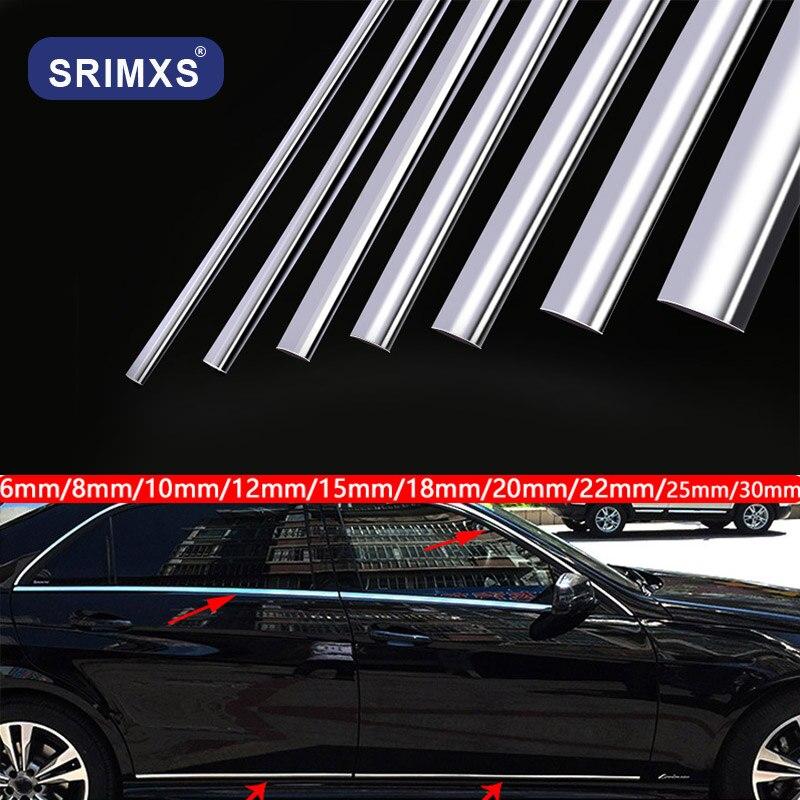 Car Styling Chrome Tape Bumper Trim Decoration Stickers Chrome Molding Strip Anti-scratch Door For Car Accessory
