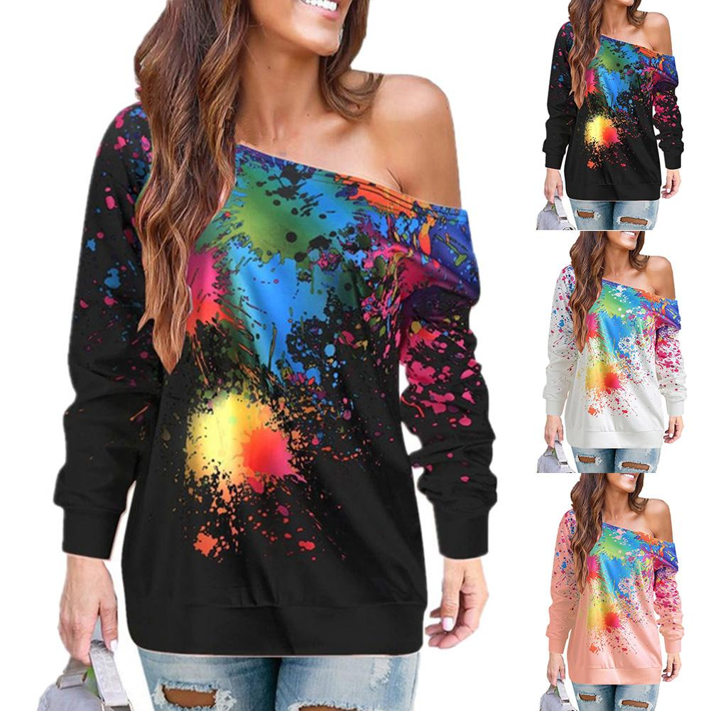 Fashion Women T-Shirts Top Inkjet Print Sloping Shoulder Casual Long Sleeve Pullover Femme Ladies Tshirt Clothes