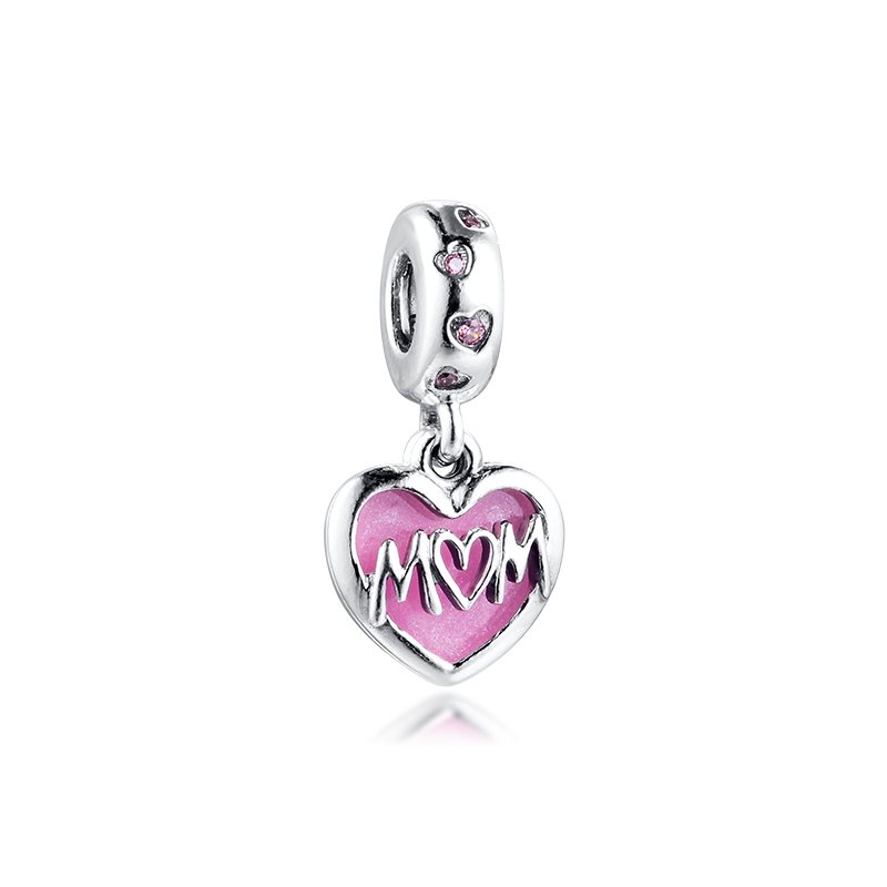 Mum Script Heart Dangle Charm Bracelets Women 925 Sterling Silver Charm Beads For Jewelry Making Valentine Day