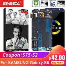 Ecran tactile 5.1 pouces pour Samsung Galaxy S6 G920F/G920A, écran tactile AMOLED et LCD, affichage tactile avec cadre, burn shadow