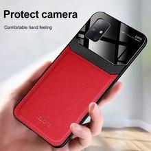 KEYSION Stoßfest Telefon Fall für Samsung Galaxy M51 M31 M21 Leder Glas Telefon Zurück Abdeckung für Galaxy M31S M30S