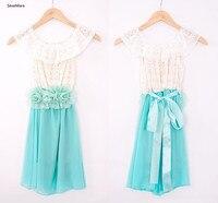 SexeMara Cute Mint Green Flower Girl Dress A Line Jewel Neck Lace Top Chiffon Sash for Belt Kids Clothes Custom Made