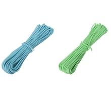 цена на 2 Pcs 550Lb Paracord Parachute Cord Nylon Luminous Glow in the Dark 9 Core Strand, Blue & Green