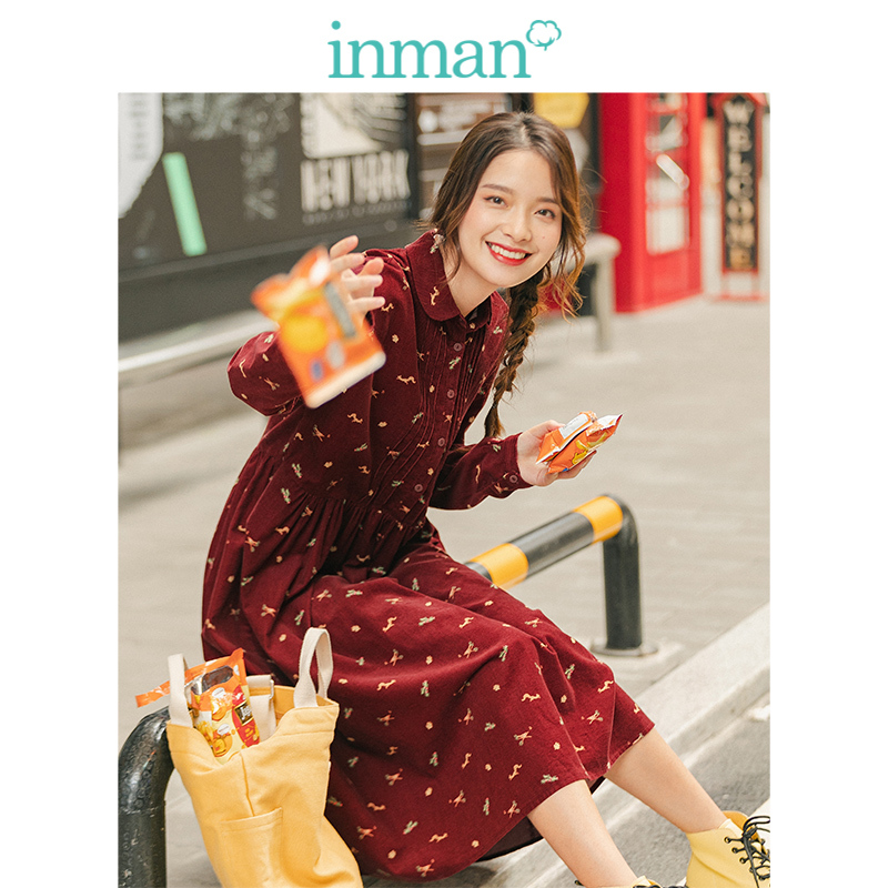 INMAN Spring Autumn Turn Down Collar Plated Literary Loose Print 100%Cotton Women Corduroy Dress