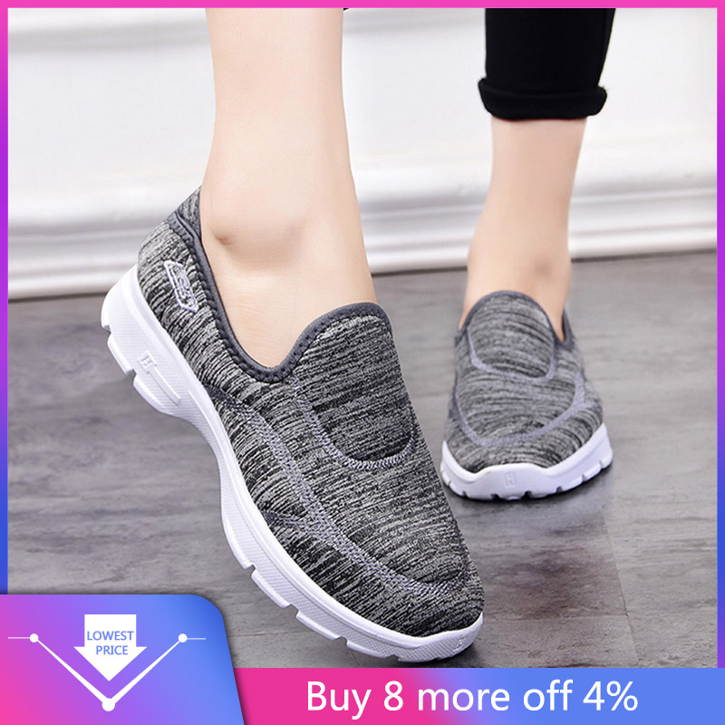 Women Ladies Casual Loafers Sneakers Flats Breathable Stretch Cloth Shoes super high platform sneakers#G4qy
