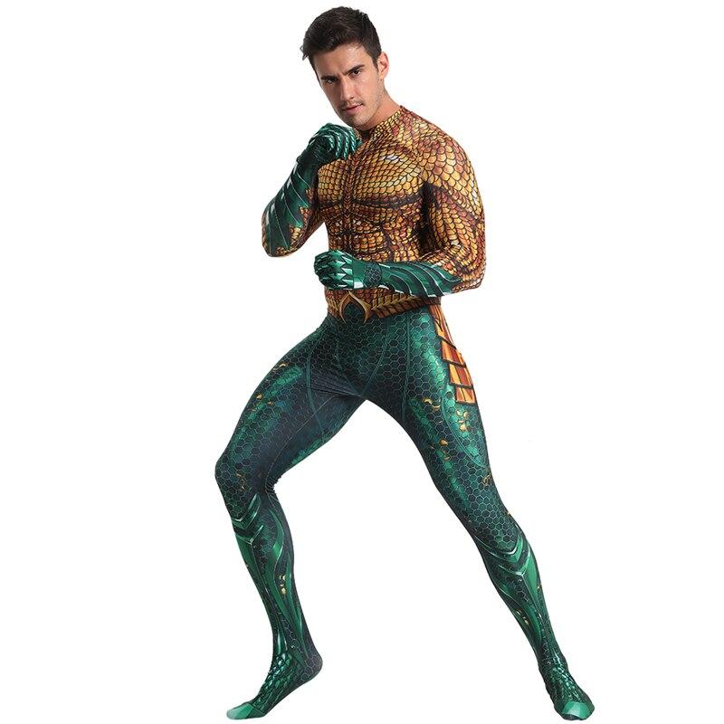 Movie Aquaman Cosplay Costume Superhero Arthur Curry Cosplay Zentai Bodysuit DC Superhero Halloween Costume Suit Free Shipping