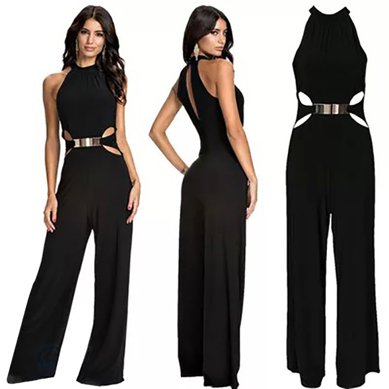 Elegant Lady Sexy Hollow Out Jumpsuits Women Black Set Sleeveless Loose Pants Jumpsuit