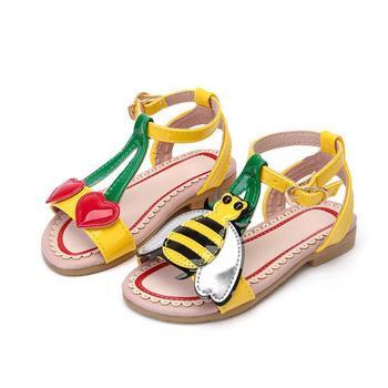 Nuevas sandalias de verano para niñas, sandalias de cuero casuales para niños, dibujos de abejas, hermosa cereza, zapatos para niños, zapatillas suaves para la playa para bebés pequeños