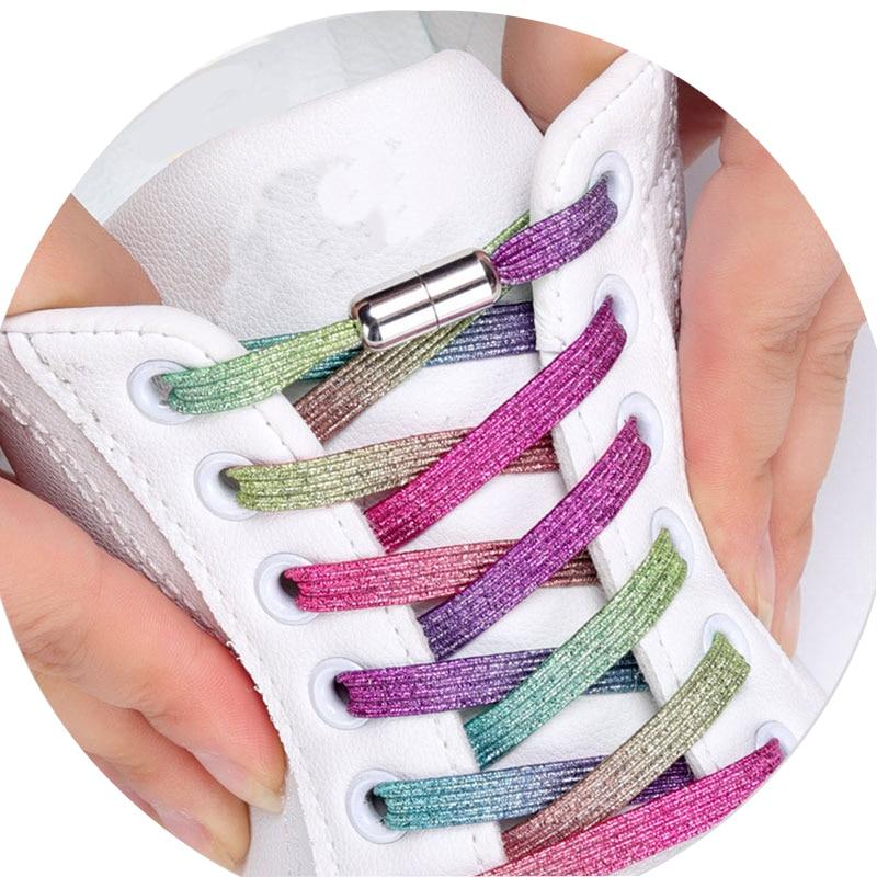 1Pair No Tie Shoelaces Unisex Elastic Shoelaces Locking Shoe Laces Strings For Kid Adult Sneakers Shoelace 23 Color Shoestrings
