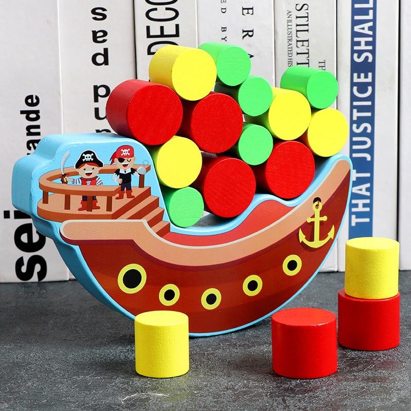 Wooden Pirate Ship Balancing Game Stacking Blocks Balancing Toddlers Toys Building Balance Games Kids Gifts
