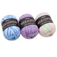 Knitting Crochet Milk Soft Baby Cotton Wool Yarn 50g DIY Warm Coat Sweater Hand Knitted Yarn Blanket Crochet Colorful(China)