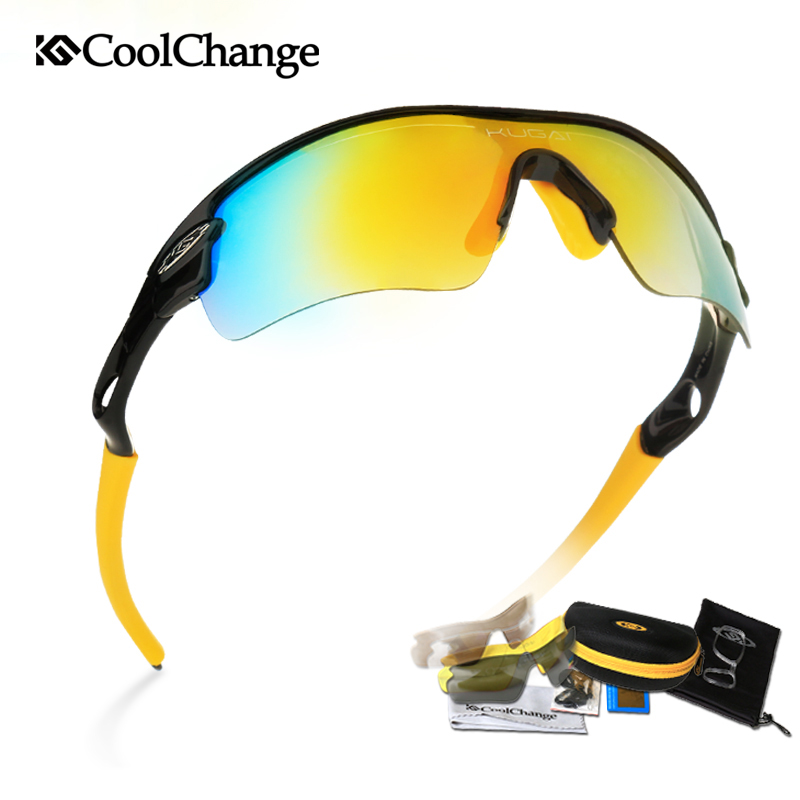 Coolchange Polarized Cycling <font><b>Bike</b></font> Sun <font><b>Glasses</b></font> Sunglasses <font><b>Bike</b></font> Outdoor Sports Protection Goggles <font><b>5</b></font> <font><b>Lens</b></font> Bicycle Eyewear Accessory image