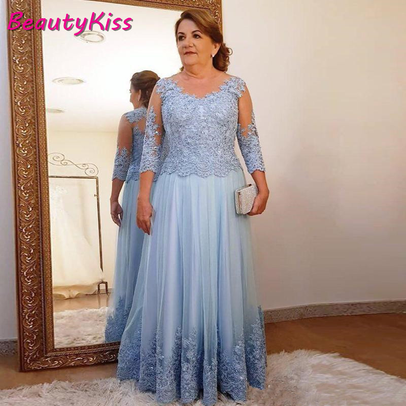 Plus Size Mother Of The Bride Dress For Wedding Party Blue Lace Tulle 3/4 Long Sleeve Ladies Formal Evening Party Prom Gowns