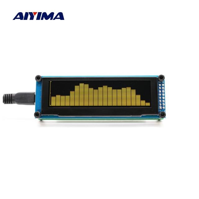 Aiyima oled 음악 오디오 스펙트럼 표시기 분석기 15 레벨 uv 미터 mp3 mp4 mp5 전화 속도 조정 가능한 agc usb dc5v for amp