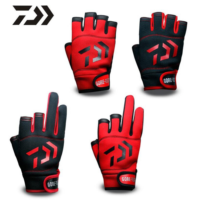 DAIWA Fishing Gloves Outdoor Non-slip Fishing Cycling Driving Protective Gloves Three And Five Fingers Cut Sports Half Finger