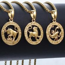 Collar con colgante de oro de 12 Horóscopo y Zodíaco para hombre y mujer, Aries Leo, 12 Constelaciones, GPM24