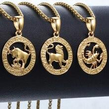 Pendentif signe du zodiac, 12 constellations, doré, pour homme et femme, bijou avec motif horoscope, bélier et lion, pour collier, vente en gros, dropshipping, GPM24