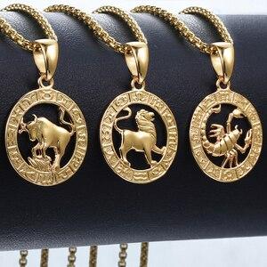 Image 1 - Pendentif signe du zodiac, 12 constellations, doré, pour homme et femme, bijou avec motif horoscope, bélier et lion, pour collier, vente en gros, dropshipping, GPM24