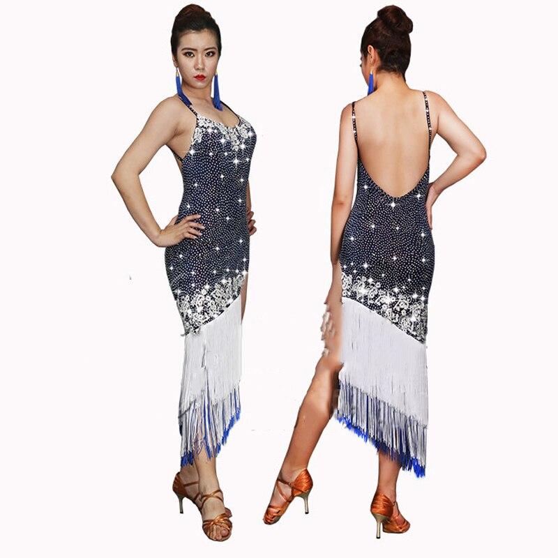 Sexy Latin Dance Dress Women Open Leg Rhinestone Dress Fringe Skirt Stage Standard Modern Perform Sparkling Salsa Dress BL2133