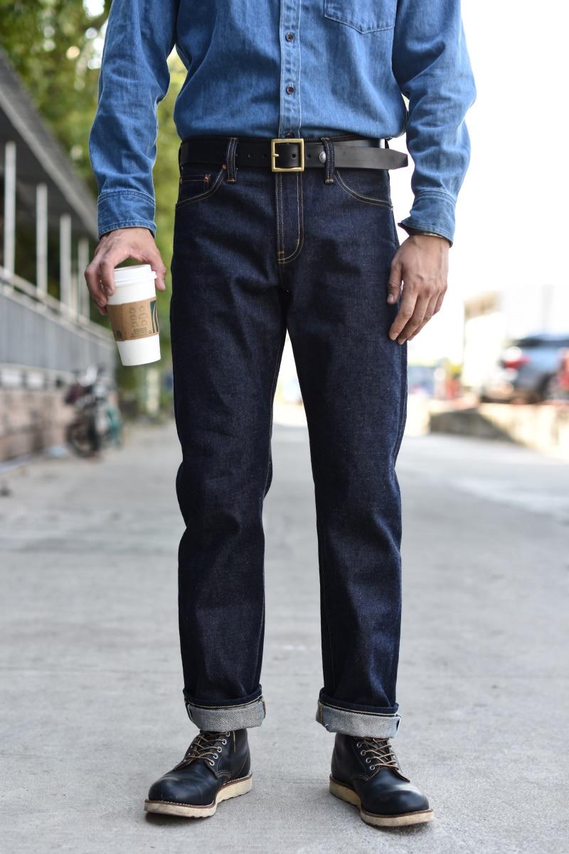 Saucezhan 316XX-18OZ męskie dżinsy Selvedge dżinsy surowe Denim proste grube jesienne i zimowe dżinsy Vintage spodnie