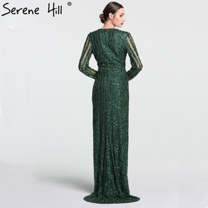Image 2 - Serene Hill Fashion V Neck Sleeping Style Green Evening Dress 2020 Beading Diamond Long Sleeves Formal Party Gown CLA6004