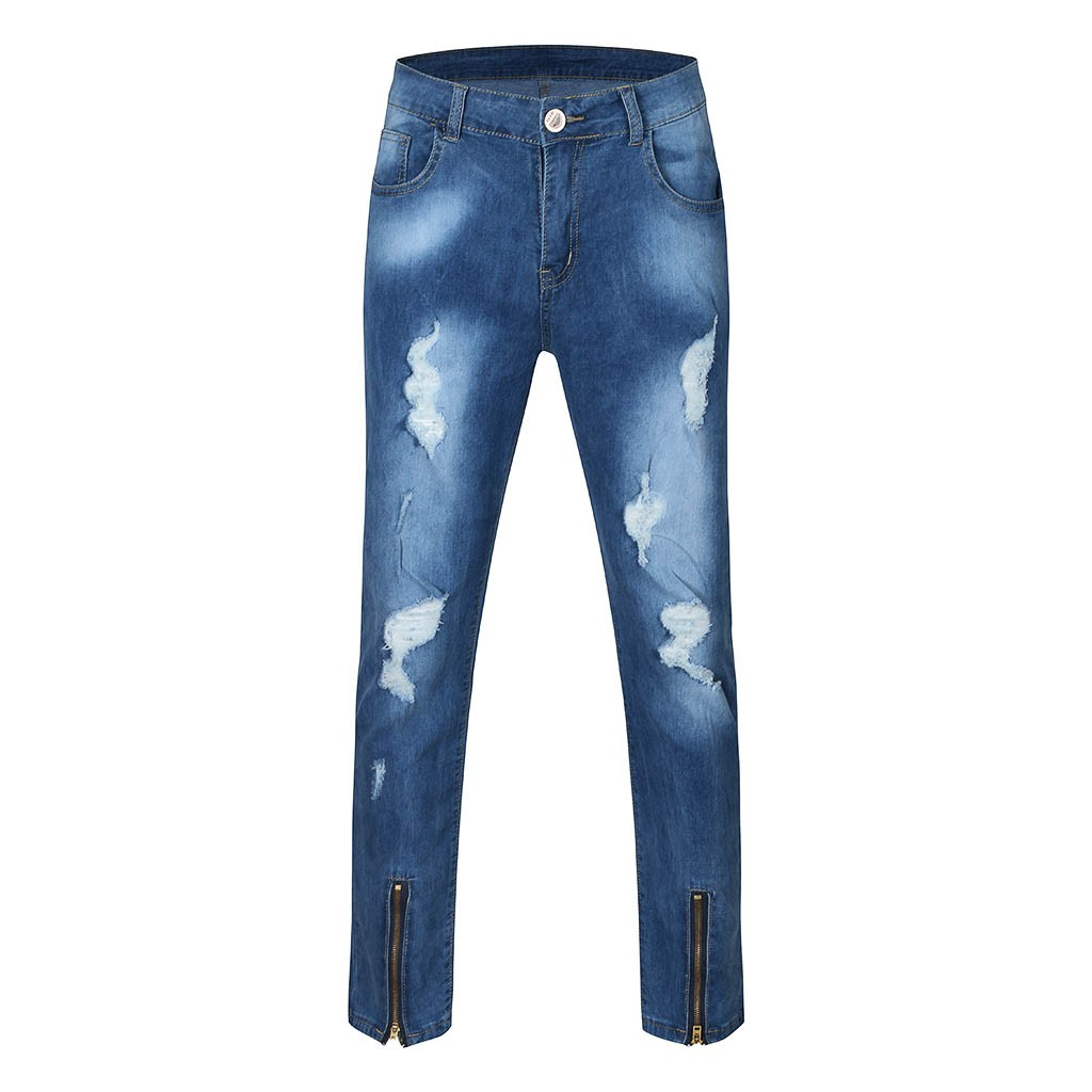 Mens Ripped Jeans Casual Mens Jeans Slim Fit Skinny Distressed Denim Pants Fashion Wash Blue Straight Jeans G3