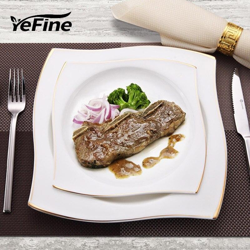 YeFine vaisselle en porcelaine à os avancé | Assiettes à dîner carrées plats de haute qualité service de vaisselle en céramique blanche bols à soupe