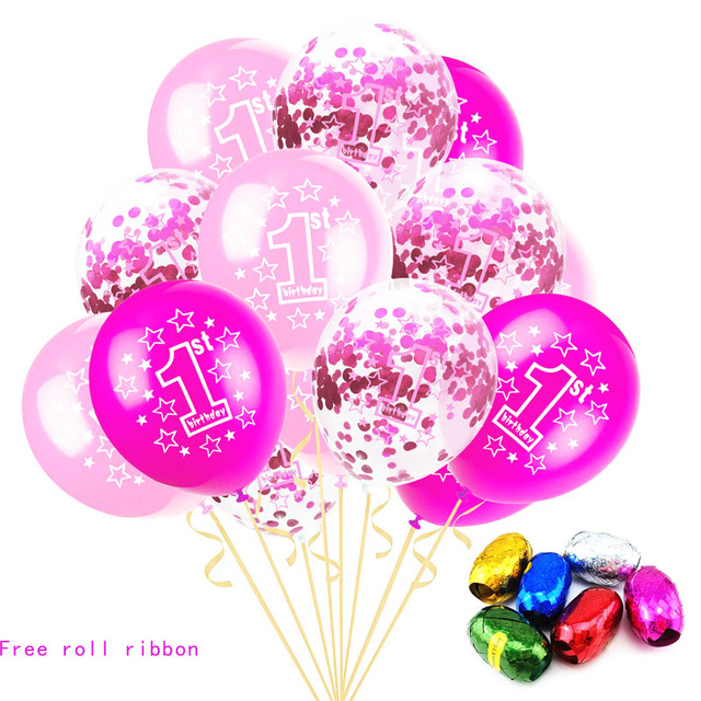 15Pcs/Set Party Balloons Inflatable Confetti Balloons 12 Inch Baby 1year Old Birthday Latex  1 Anniversary  Decoration