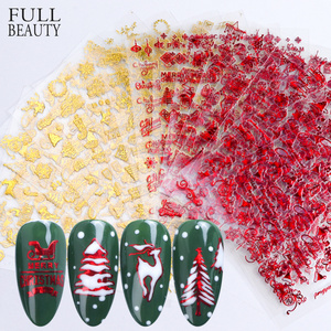Image 1 - 18pc אדום זהב 3D נייל מדבקת סט חג המולד חורף גליטר Snowflower מכתב מחוון מדבקות קישוטי דבק טיפים CHSTZG041 049 1