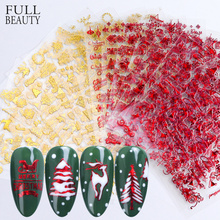 18pc Red Gold 3D Nail Sticker Set Xmas Winter Glitter Snowflower Letter Slider Decals Decorations Adhesive Tips CHSTZG041 049 1