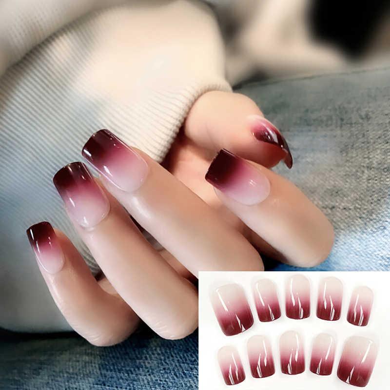 24 Unidsset Super Nice Acrílico Uñas Falsas Color Negro Rojo Gradiente Párrafo Corto Cubierta Completa Francés Falsas Uñas Consejos De Arte