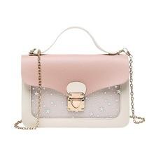Women Mini Small Square Pack Shoulder Bag Fashion Star Sequin Designer Messenger Crossbody Bag Clutch Wallet Handbags Pink