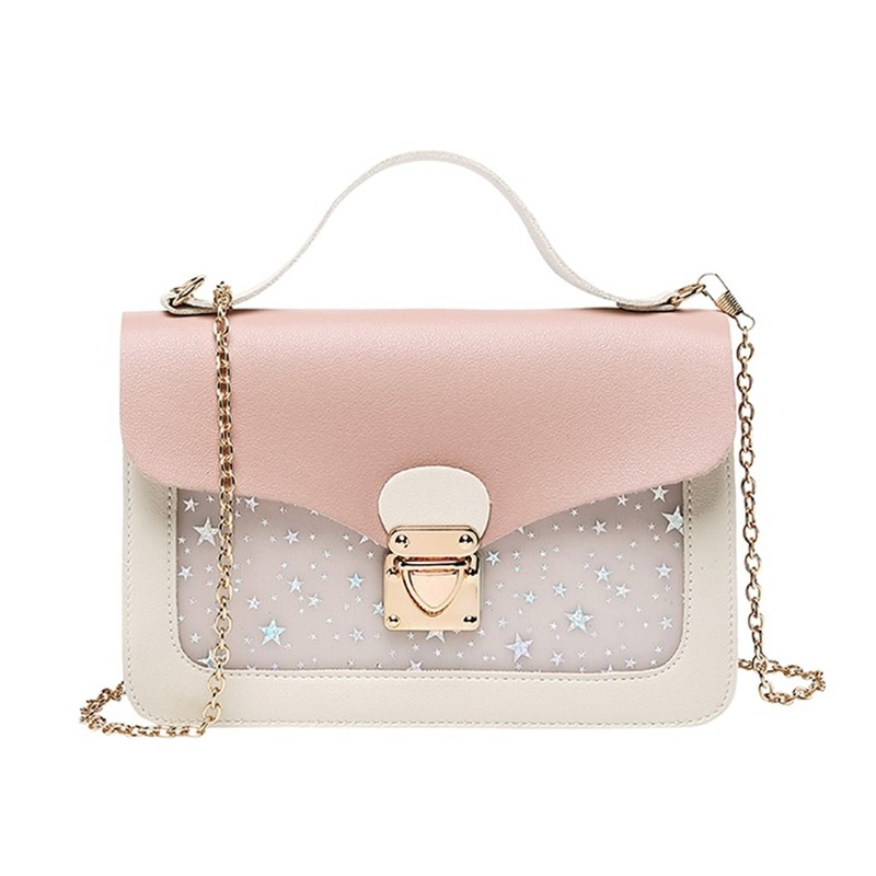 Women Mini Small Square Pack Shoulder Bag Fashion Star Sequin Designer Messenger Crossbody Bag Clutch Wallet Handbags Pink