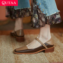 Female Shoes Vintage-Style Ankle-Strap Square Low-Heels Genuine-Leather Women Basic QUTAA