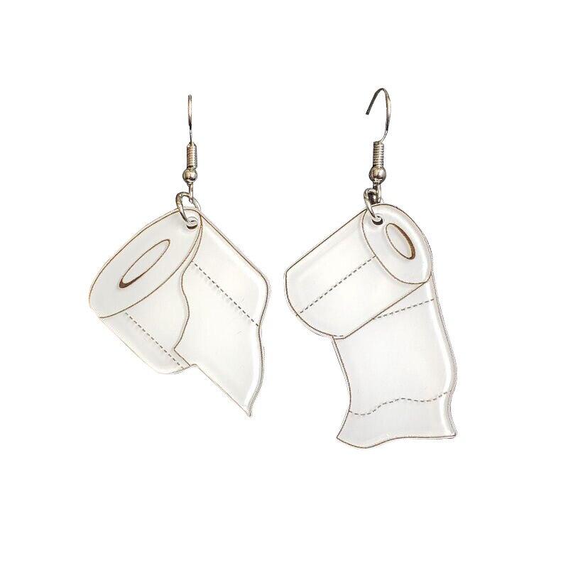 Rollos de papel higiénico para mujeres y niñas, pendientes de gota divertidos, accesorios de moda, joyería acrílica con impresión de alta calidad