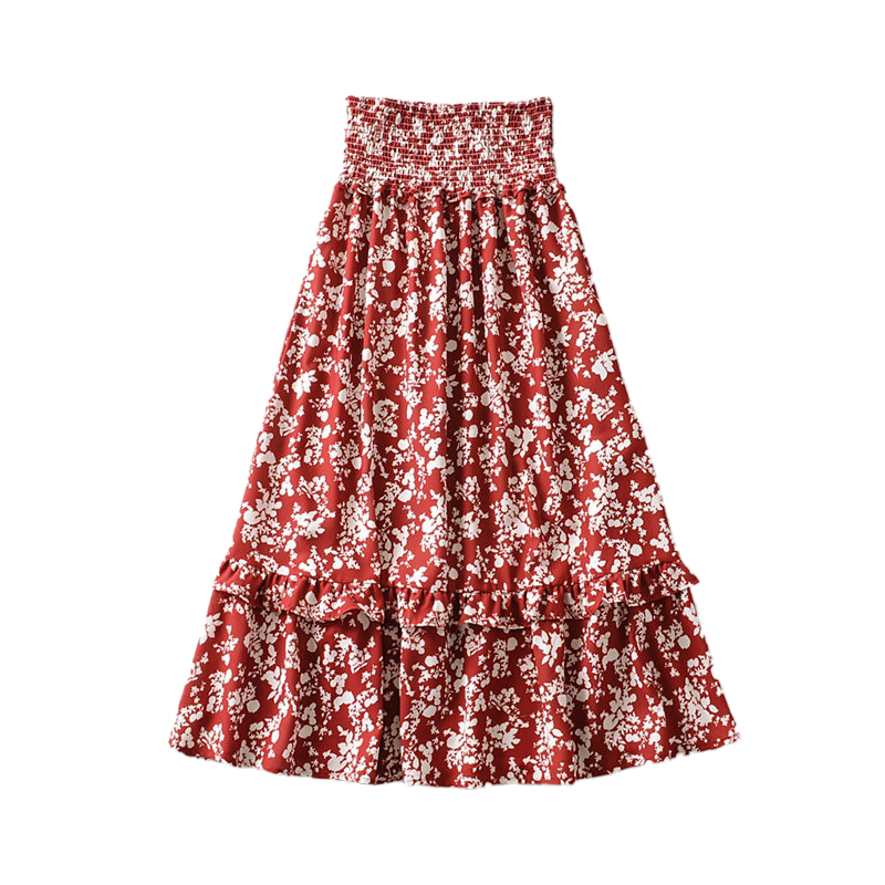 Tangada Women Floral Pleated Beach Midi Skirt Faldas Mujer Vintage Strethy Waist Holiday Ladies Chic Mid Calf Skirts 6A160