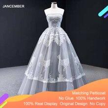 J66970 Jancember Gray Evening Dress 2020 Strapless Sleeveless Appliques Tiered Party Dress Abiti Da Cerimonia Vestidos De Noite