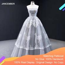 J66970 jancemberグレーイブニングドレス 2020 ストラップレスノースリーブアップリケティアードパーティーabitiダcerimonia vestidosデnoite