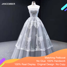 Jancembre robe De soirée grise, sans bretelles, sans manches, appliquée, à niveaux, robe De fête, J66970, modèle 2020