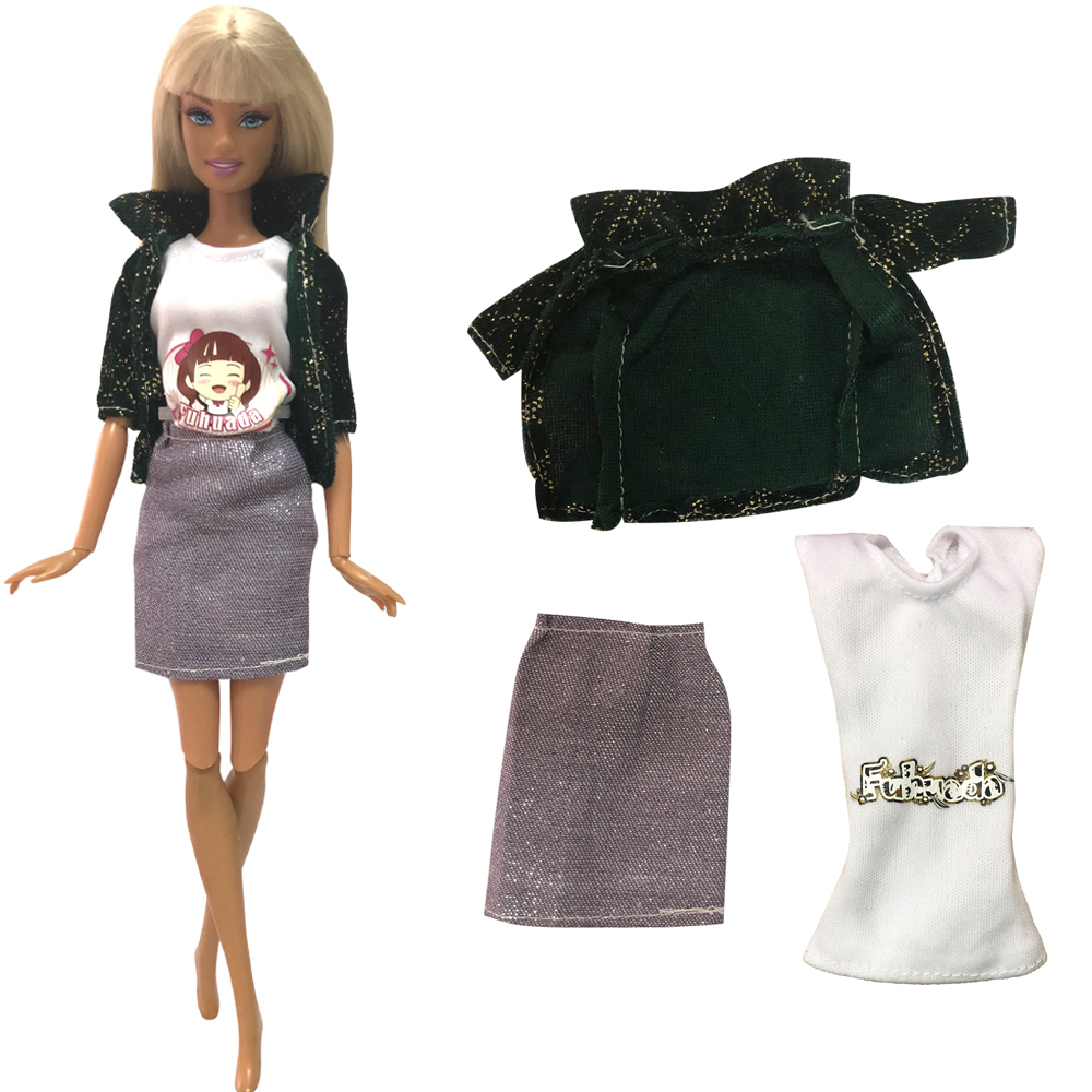 NK 1 Pcs Doll Aristocratic Casual Denim Suit Handmade Autumn Clothes Top Fashion Set For Barbie Doll Accessories Toys Gifts 43A