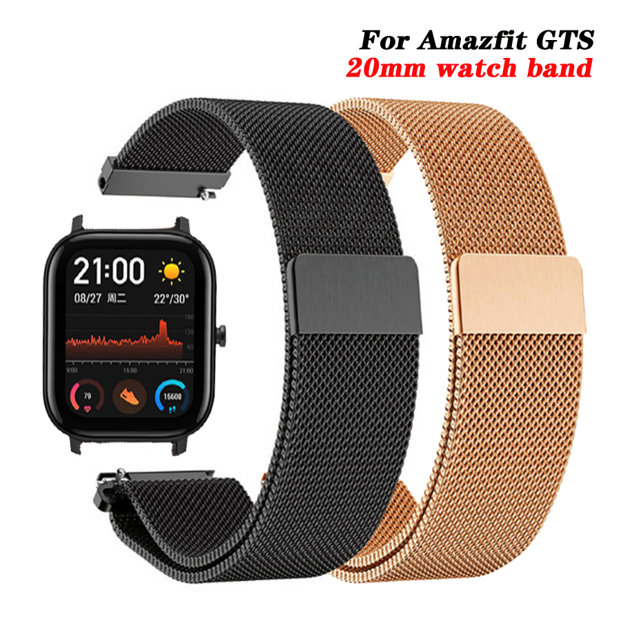 For Amazfit GTS Strap Milanese Magnetic Loop Stainless Steel Bracelet For Xiaomi Huami Amazfit Bip/GTR 42mm Metal Watchband 20mm