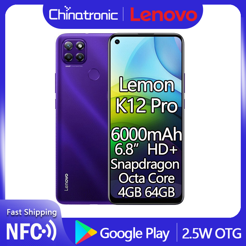 "Oryginalny Lenovo Lemon K12 Pro 64G LTE 6.8 ""HD + telefon komórkowy Snapdragon octa-core Android 10 64MP linii papilarnych NFC 6000mAh"