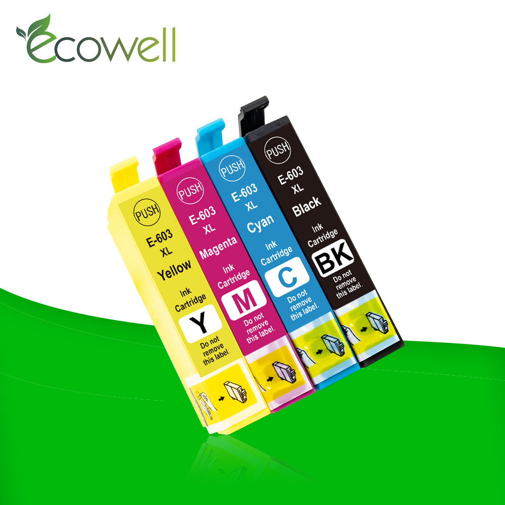 Ecowell 4pcs T603XL ink cartridge 603XL with chip compatible for <font><b>Epson</b></font> <font><b>XP</b></font>-<font><b>2100</b></font> <font><b>XP</b></font>-3100 WF-2810DWF WF-2835DWF WF-2850DWF printer image