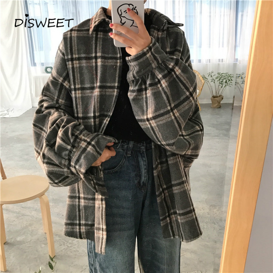2019 Harajuku Autumn Plaid Thin Section Wool Cardigan Korean Puff Sleeve Slim Warm Shirt Jacket Retro Casual Women Button Top