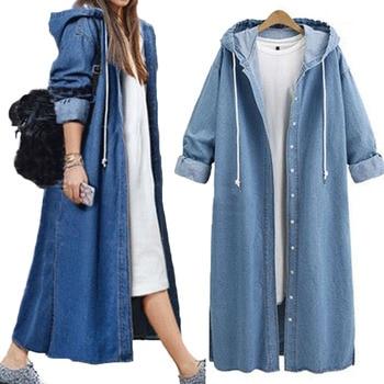 Fashion Women Denim Coats Fashion Single Breasted Open Hood Sweatshirt Long Coat Autumn Jacket Top Outwear Plus Size plus open shoulder camouflage top